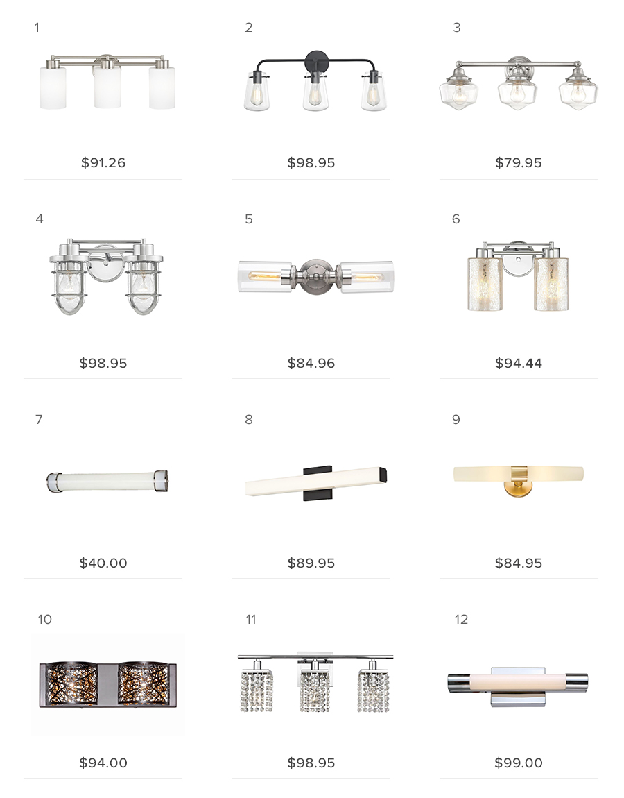 bathroom lights under $100