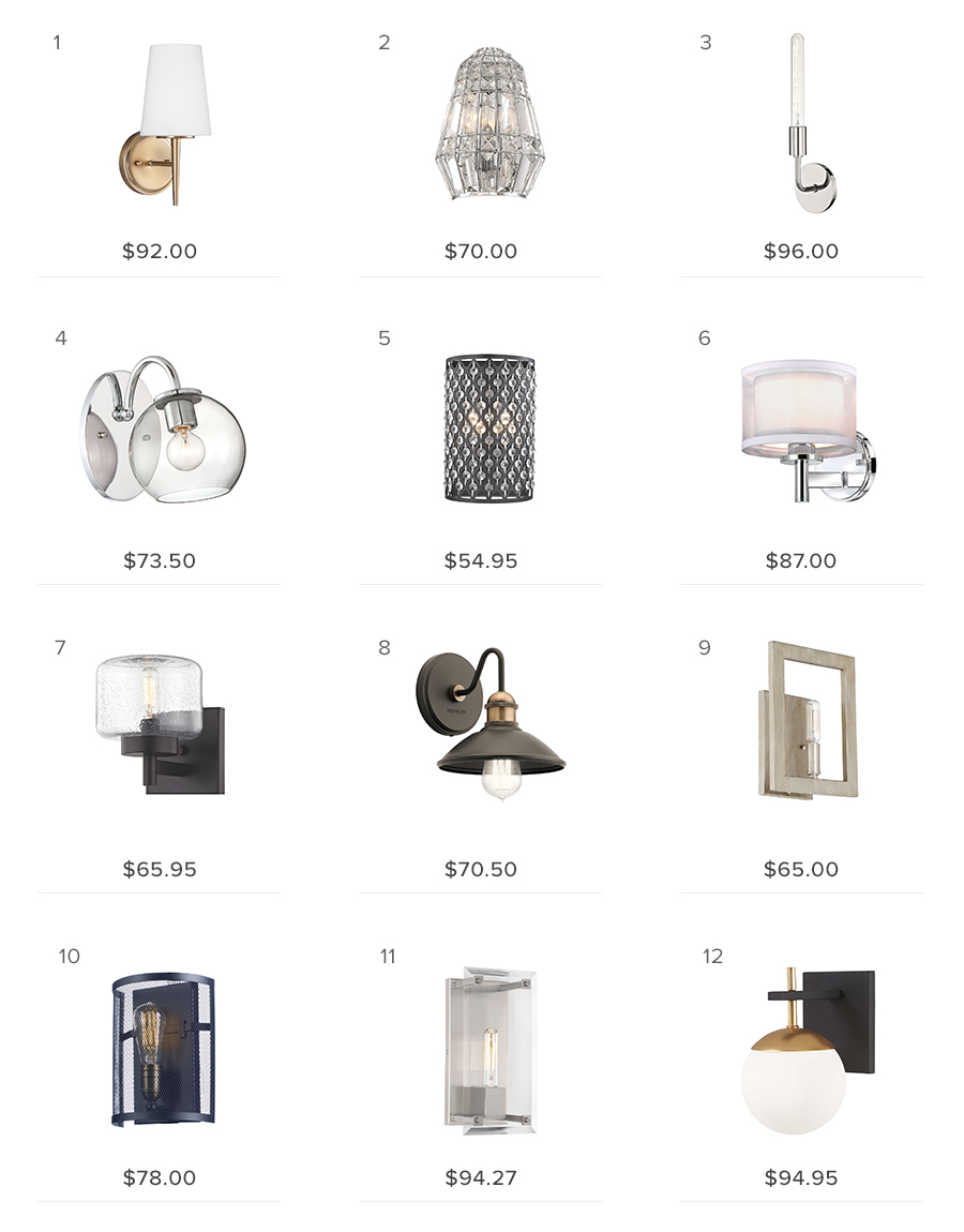wall lights under $100 sconces