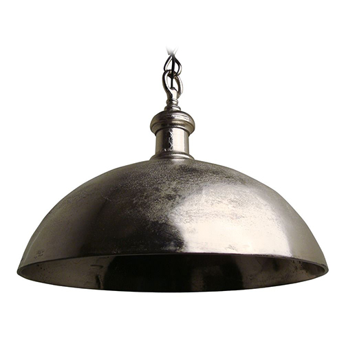 a beautiful distressed metal bowl adorns this large rustic light perfect for dining areas and industrial lofts