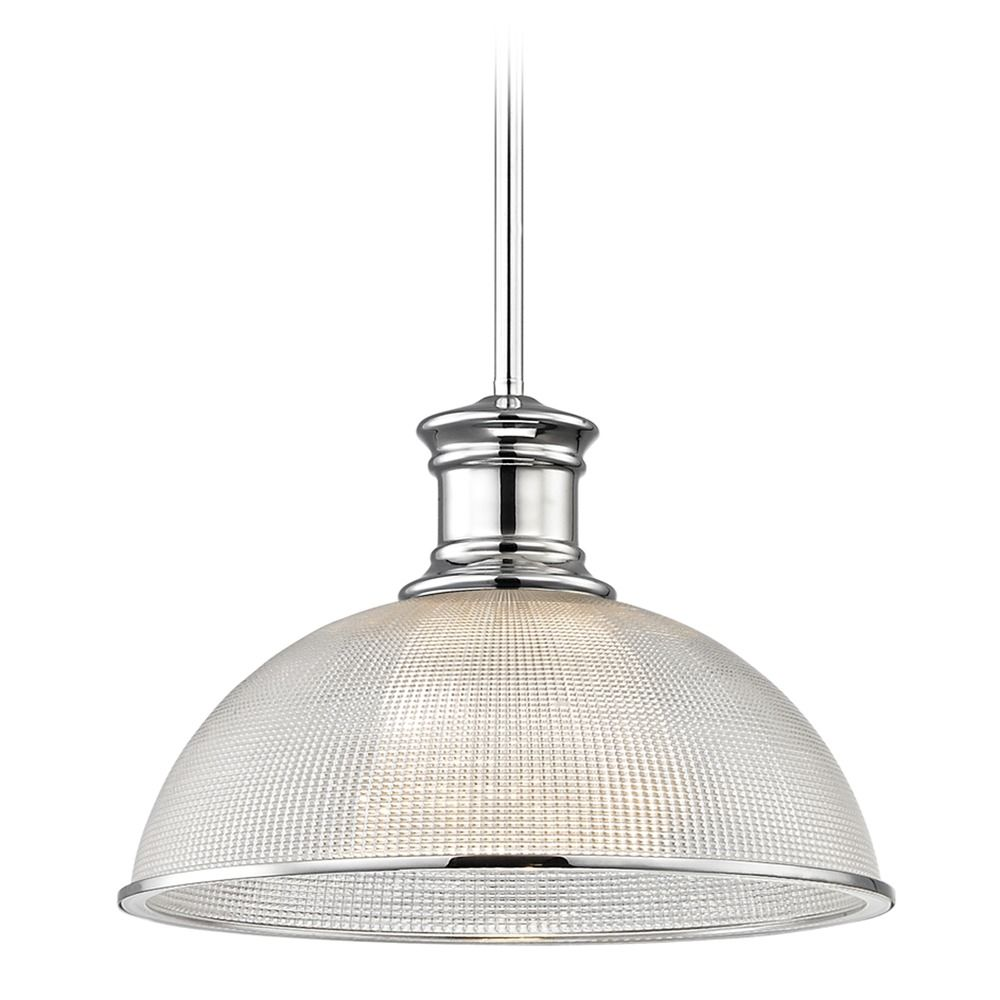 vintage lighting - prismatic glass chrome pendant