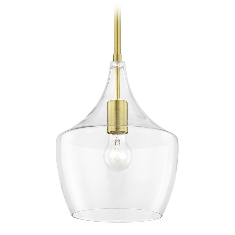vintage lighting brass pendant with clear glass