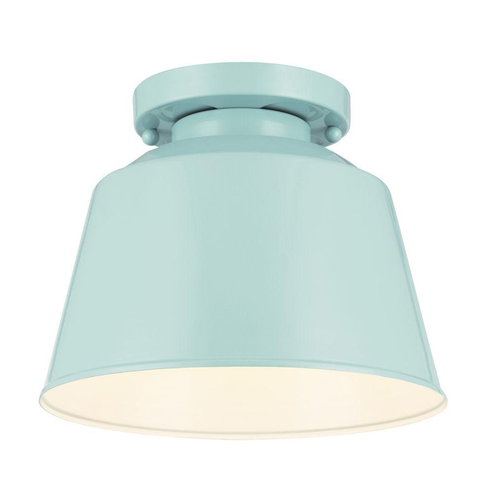 vintage lighting blue metal flush mount