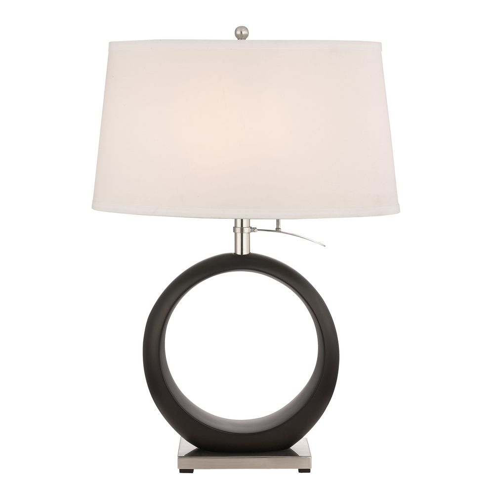 Transitional Satin Nickel Table Lamp with Eggshell Oval Shade By: Design Classics Lighting