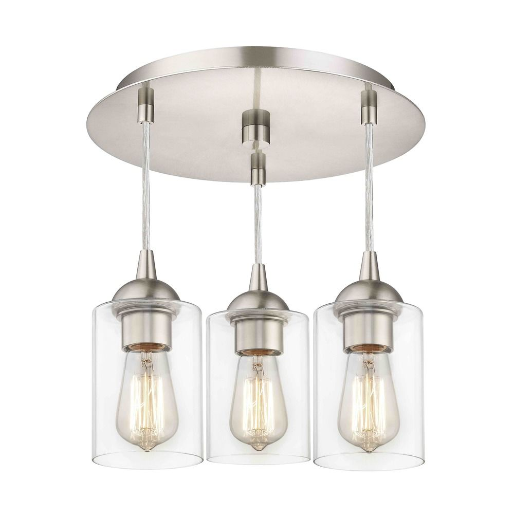 3-Light Semi-Flush Light with Clear Cylinder Glass - Nickel Finish By: Design Classics Lighting