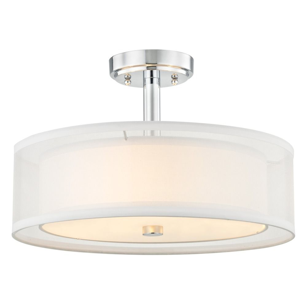 Semi-Flushmount Light White Drum Shade Chrome By: Design Classics Lighting