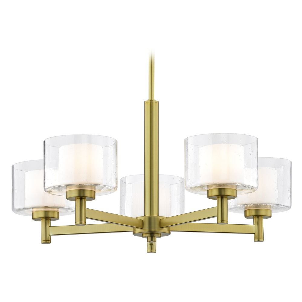 Seeded Glass Chandelier Brass By: Design Classics Lighting