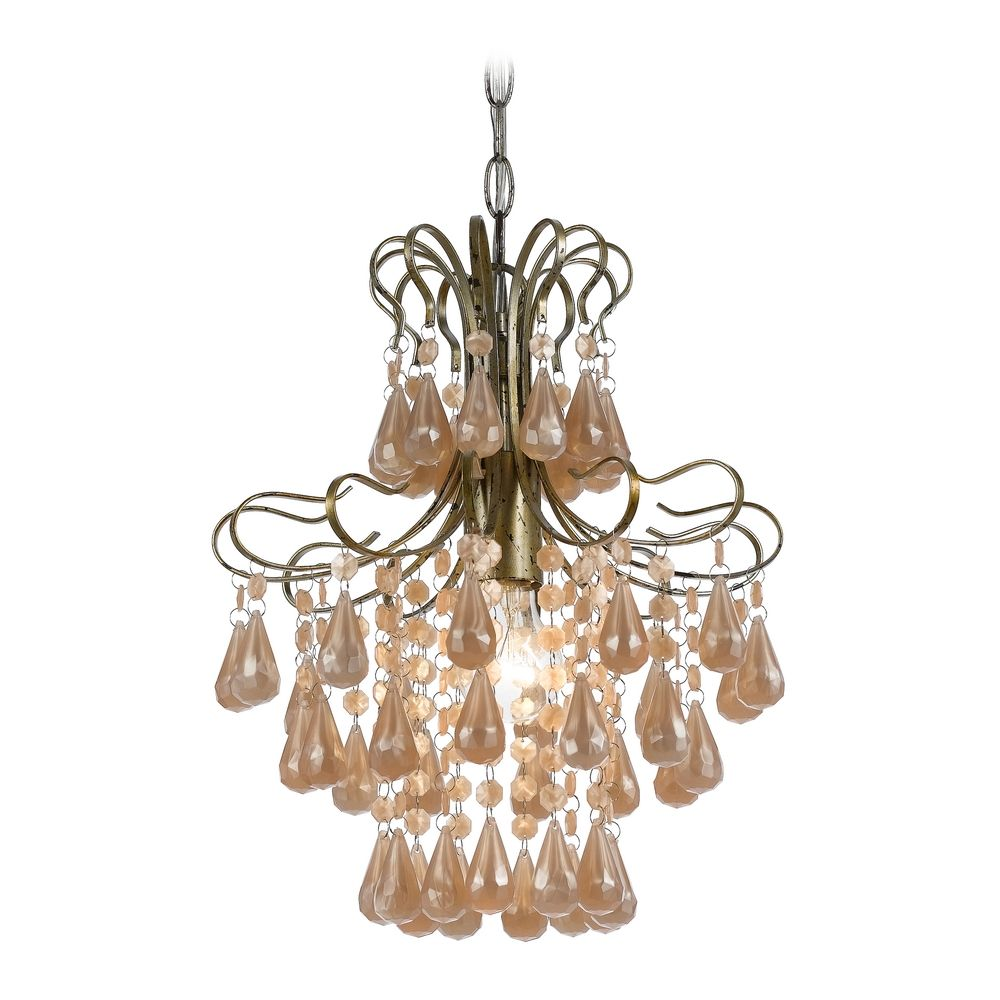Mini-Chandelier in Soft Gold Finish By: AF Lighting
