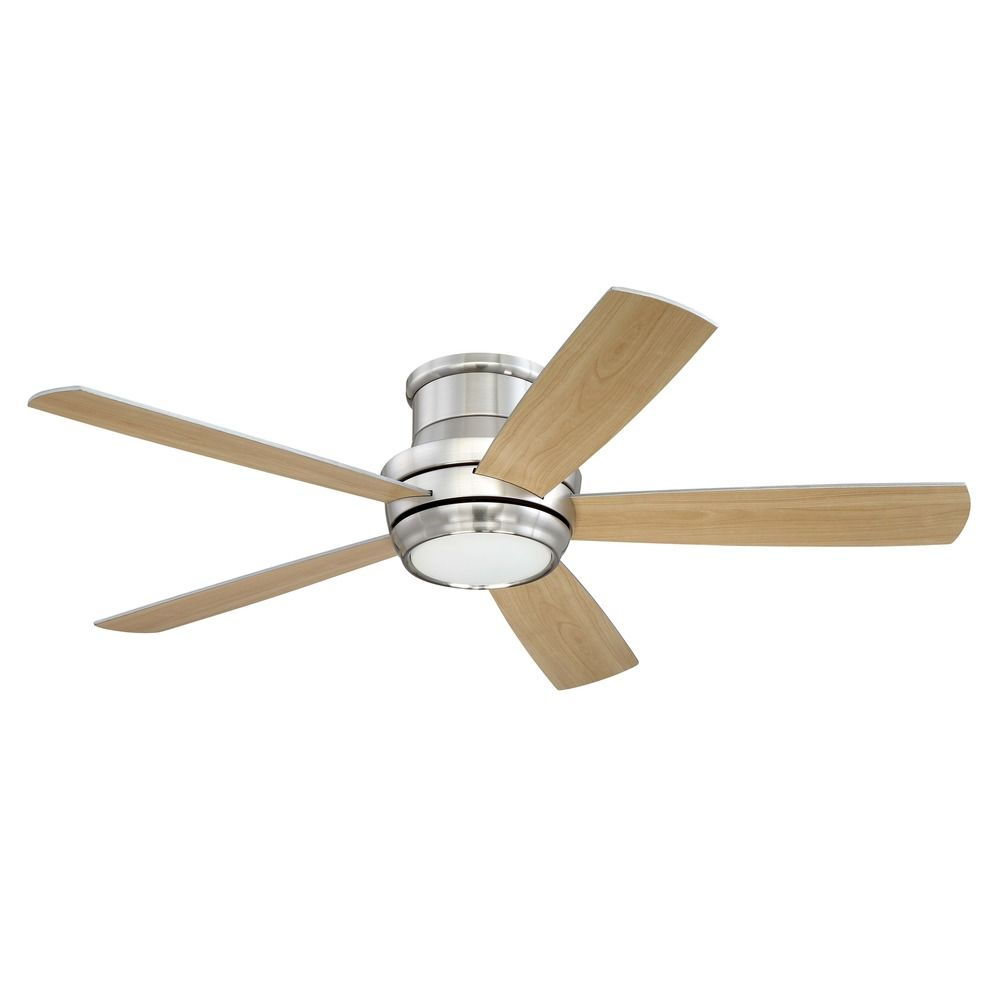 Craftmade Lighting Tempo Hugger Brushed Polished Nickel LED Ceiling Fan with Light