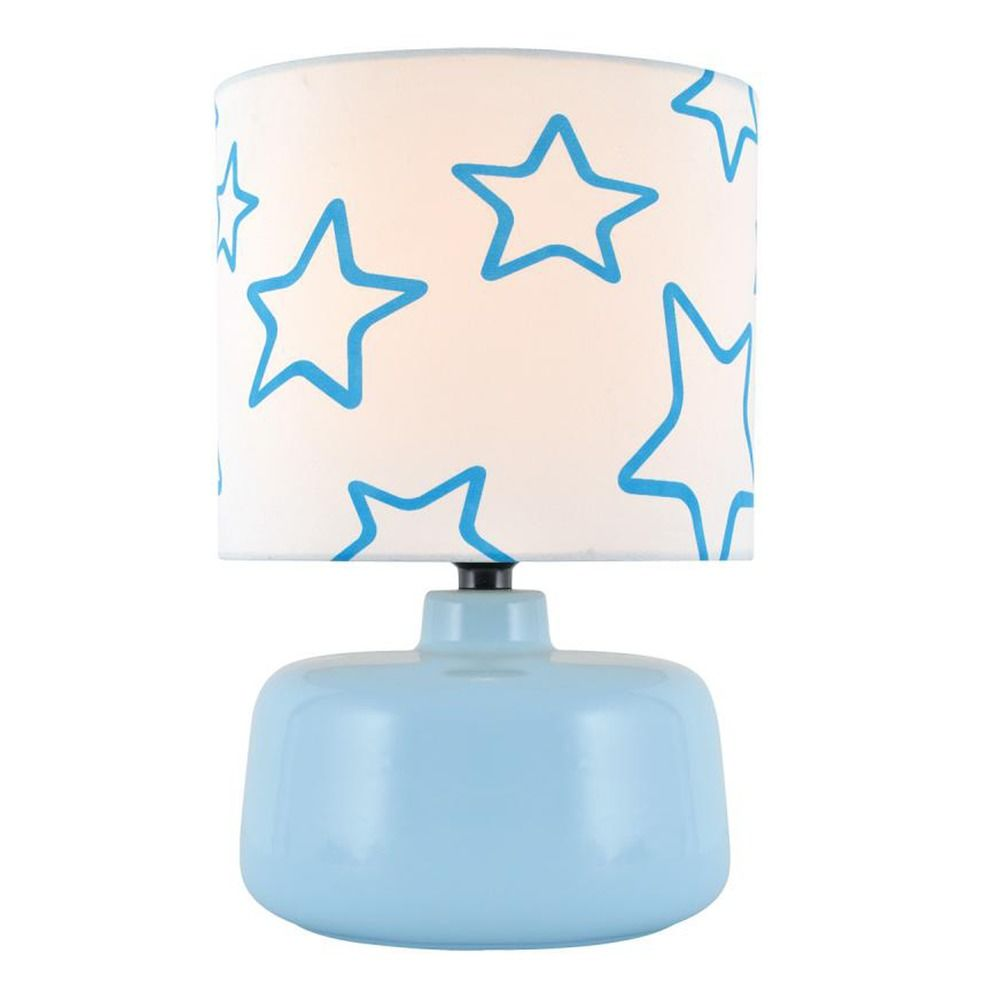 Lite Source Twinkle Blue Table Lamp with Drum Shade By: Lite Source Lighting