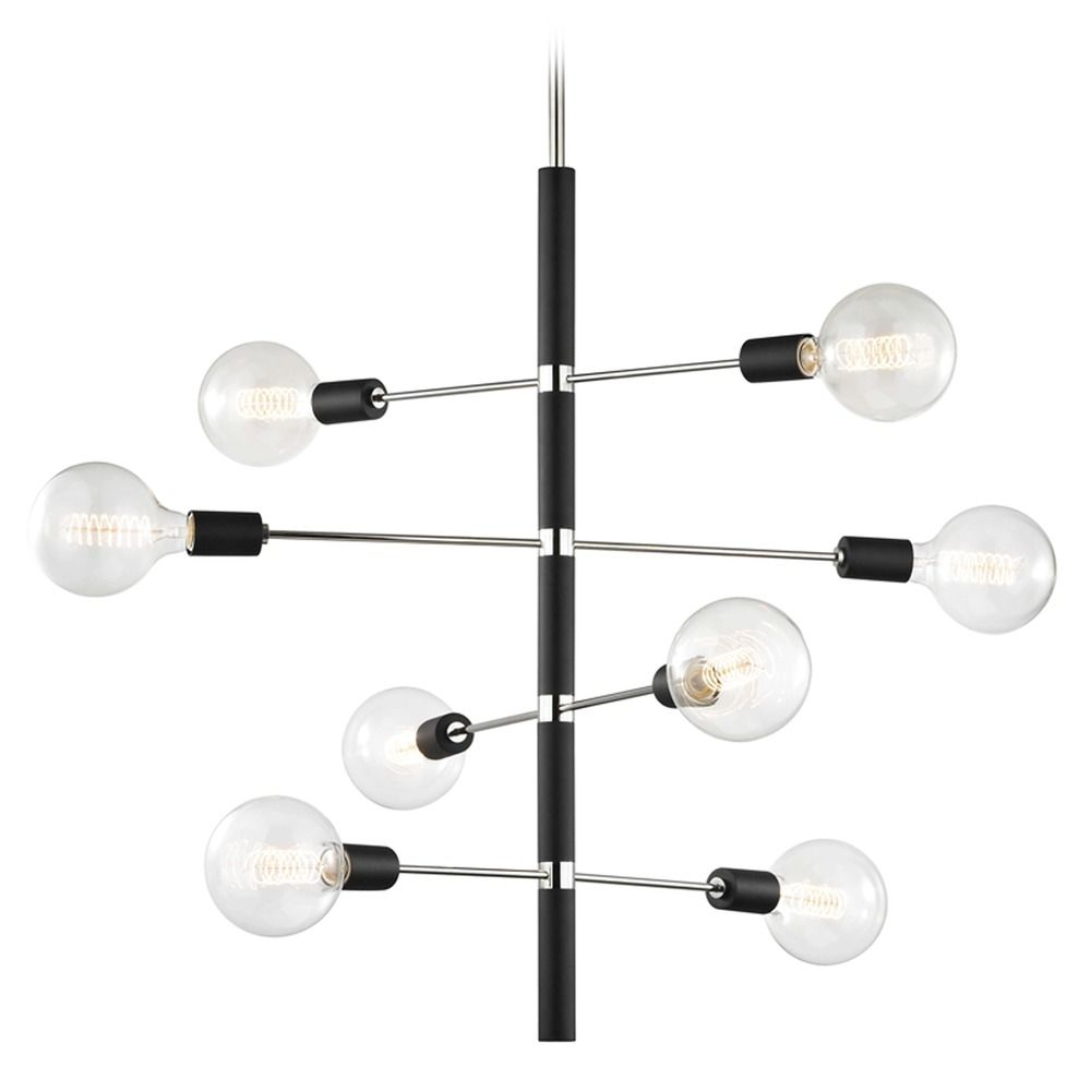 Mid-Century Modern Chandelier Polished Nickel / Black Mitzi Astrid by Hudson Valley