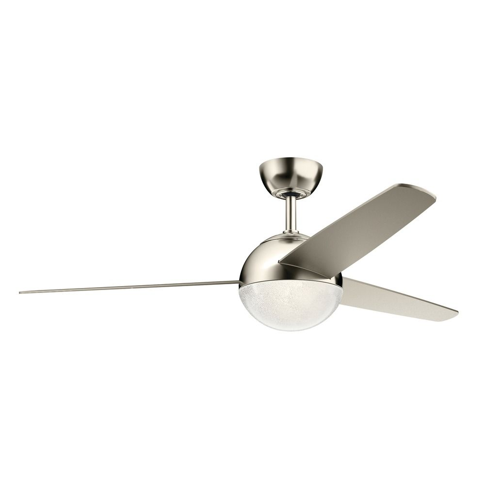 56-Inch 3 Blade LED Ceiling Fan with Light Polished Nickel by Kichler Lighting