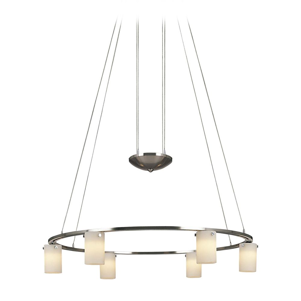 Modern Chandelier with White Glass in Brushed Nickel Finish By: George Kovacs Lighting