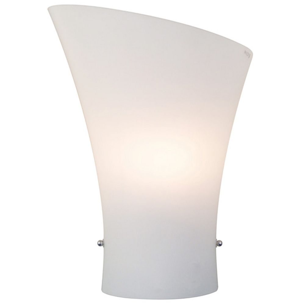 Modern Sconce Wall Light with White Glass in Satin Nickel Finish By: ET2 Lighting