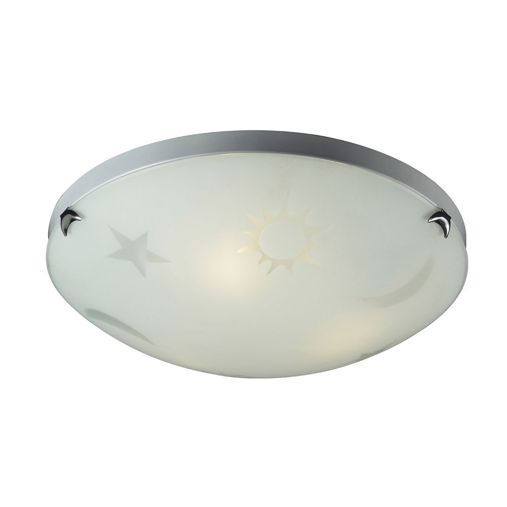 Flushmount Light with White Glass in Satin Nickel Finish By: Elk Lighting