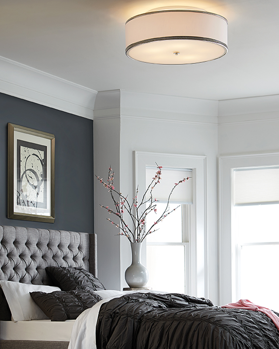 feiss lighting pave polished nickel semi flushmount light by feiss lighting - Bedroom Lighting