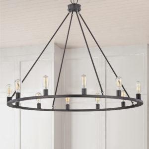 Bainbridge 12-Light Bronze Industrial Round Chandelier vintage lighting