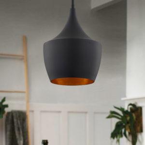 Design Classics Helenna Matte Black Pendant Light with Brass Interior vintage lighting