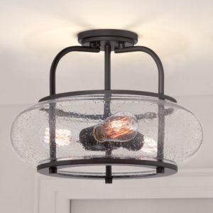 Seeded Glass Semi-Flushmount Light Bronze Quoizel Lighting vintage lighting
