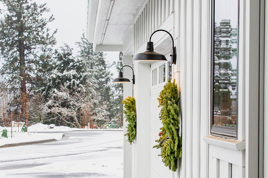 RLM Gooseneck Outdoor Wall Lights Decorated with Wreaths for Winter