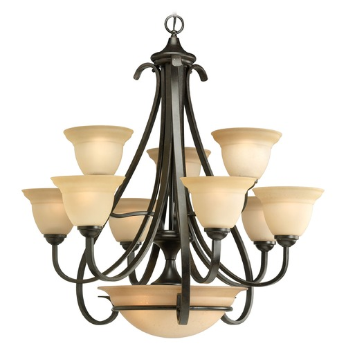 Progress Lighting Progress Chandelier with Beige / Cream Glass in Forged Bronze Finish P4418-77