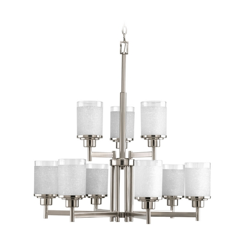 Progress Lighting Progress Modern Chandelier with White Glass in Brushed Nickel Finish P4626-09
