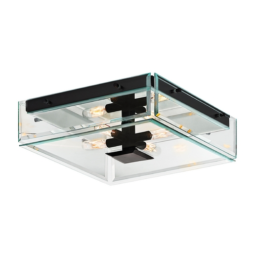 Sonneman Lighting Modern Flushmount Light with Clear Glass in Satin Black Finish 4285.25
