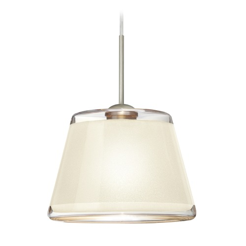 Besa Lighting Besa Lighting Pica Satin Nickel Mini-Pendant Light with Empire Shade 1JT-PIC9WH-SN