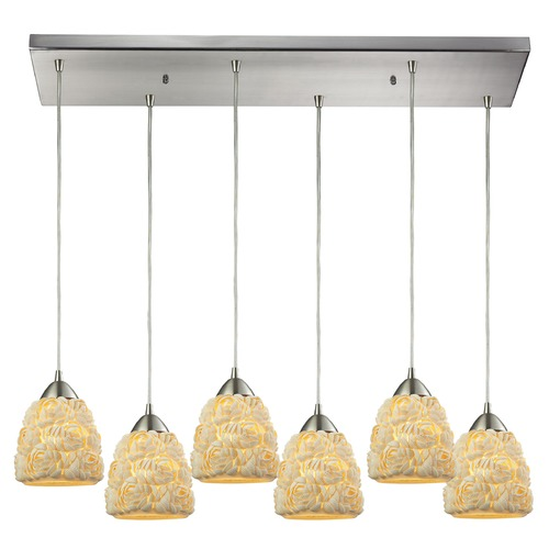Elk Lighting Elk Lighting Shells Satin Nickel Multi-Light Pendant with Bowl / Dome Shade 10414/6RC