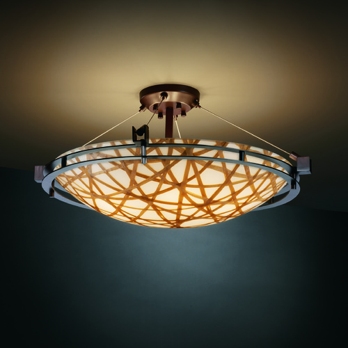 Justice Design Group Justice Design Group Metropolis Family Dark Bronze Semi-Flushmount Light 3FRM-8112-35-CONN-DBRZ