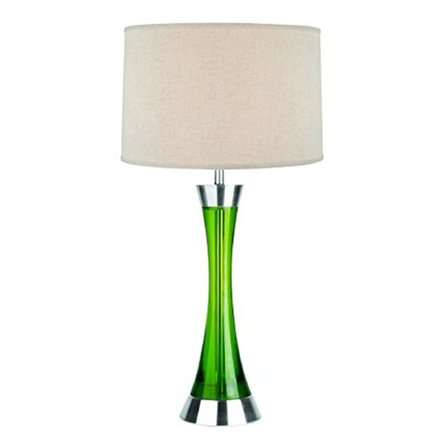 Lite Source Lighting Lite Source Sunderland Polished Steel and Green Table Lamp with Drum Shade LSF-2766PS/GRN