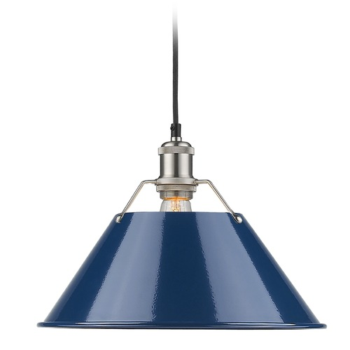 Golden Lighting Golden Lighting Orwell Pw Pewter Pendant Light with Conical Shade 3306-L PW-NVY