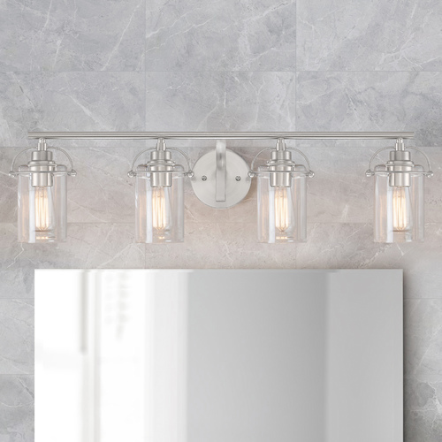 Quoizel Lighting Quoizel Emerson Brushed Nickel 4-Light Bathroom Light with Clear Glass Shades EMR8604BN