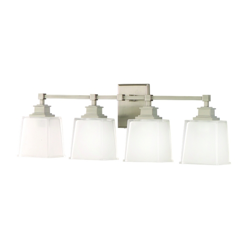 Hudson Valley Lighting Bathroom Light with White Glass in Satin Nickel Finish 1954-SN