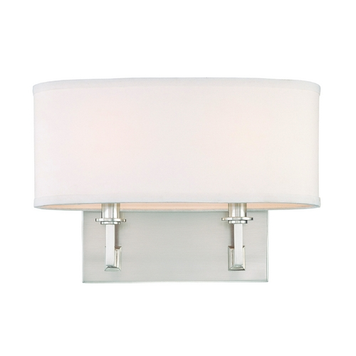 Hudson Valley Lighting Modern Sconce Wall Light with White Shades in Satin Nickel Finish 592-SN
