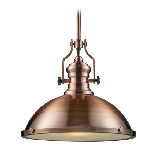 Vintage Copper Pendant Lighting : Pendant light in antique copper finish inches wide