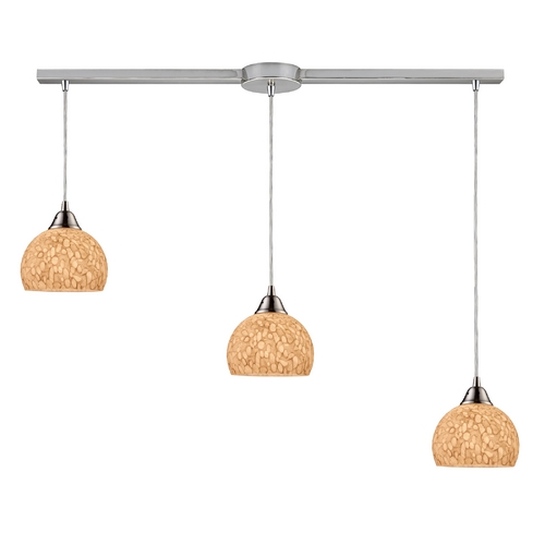 Elk Lighting Modern Multi-Light Pendant Light with Grey Glass and 3-Lights 10143/3L-PW