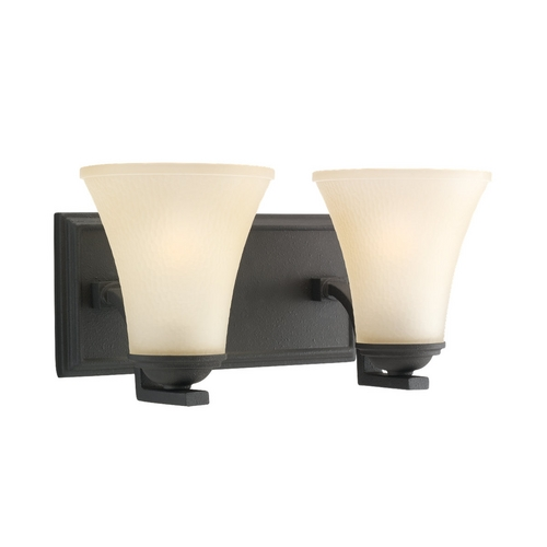 Sea Gull Lighting Bathroom Light with Beige / Cream Glass in Blacksmith Finish 44375-839