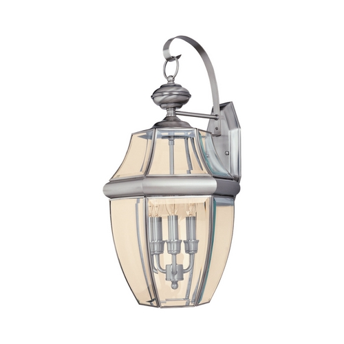 Sea Gull Lighting Outdoor Wall Light with Clear Glass in Antique Brushed Nickel Finish 8040-965
