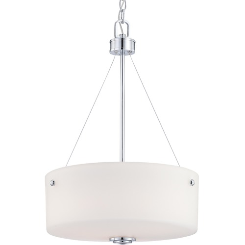 Nuvo Lighting Modern Drum Pendant Light with White Glass in Polished Chrome Finish 60/4586