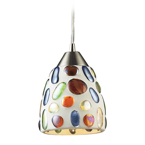 Elk Lighting Elk Lighting Gemstone Satin Nickel Mini-Pendant Light with Bowl / Dome Shade 542-1-LA