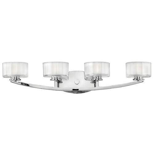 Hinkley Lighting Bathroom Light with White Glass in Chrome Finish 5594CM