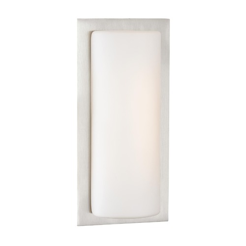George Kovacs Lighting Modern LED Sconce Wall Light with White Glass in Brushed Aluminum Finish P561-144A-L
