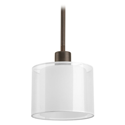 Progress Lighting Mini-Pendant Light with White Glass P5110-20
