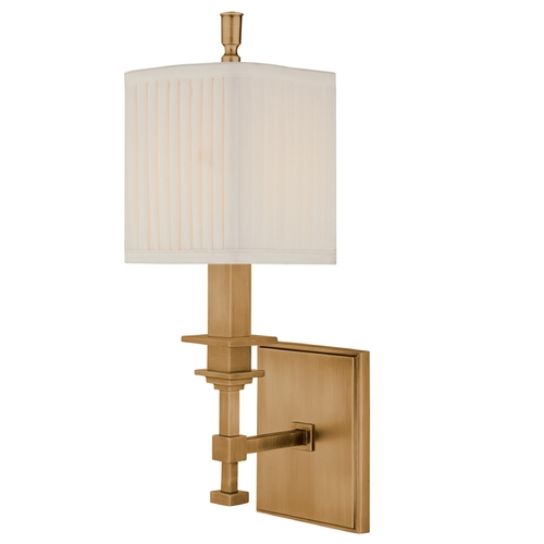 Hudson Valley Lighting Sconce Wall Light with White Shade in Aged Brass Finish 241-AGB