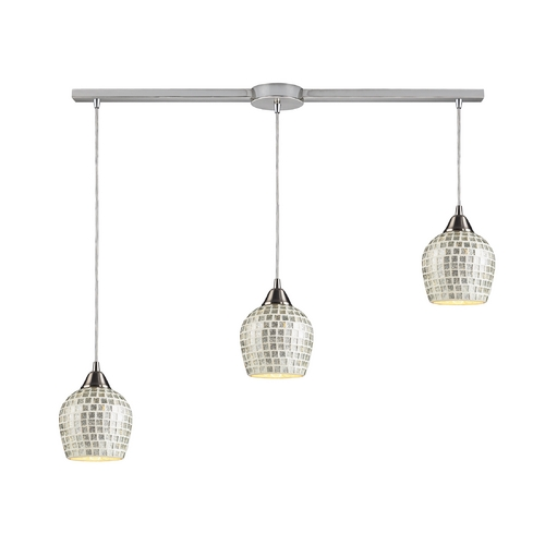 Elk Lighting Modern Multi-Light Pendant Light with Grey Glass and 3-Lights 528-3L-SLV