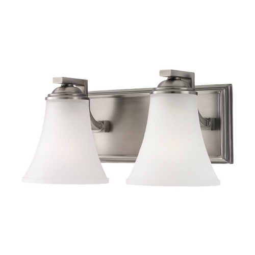 Sea Gull Lighting Bathroom Light with White Glass in Antique Brushed Nickel Finish 44375-965