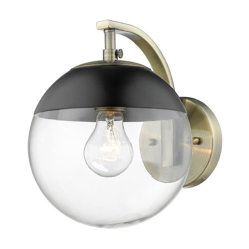 Golden Lighting Golden Lighting Dixon Aged Brass Sconce with Black Accent 3219-1WAB-BLK