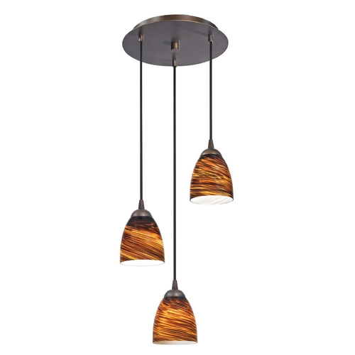 Design Classics Lighting Modern Multi-Light Pendant Light with Brown Art Glass and 3-Lights 583-220 GL1023MB