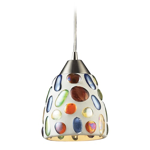 Elk Lighting Elk Lighting Gemstone Satin Nickel LED Mini-Pendant Light with Bowl / Dome Shade 542-1-LED