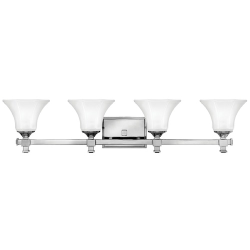 Hinkley Lighting Bathroom Light with White Glass in Chrome Finish 5854CM